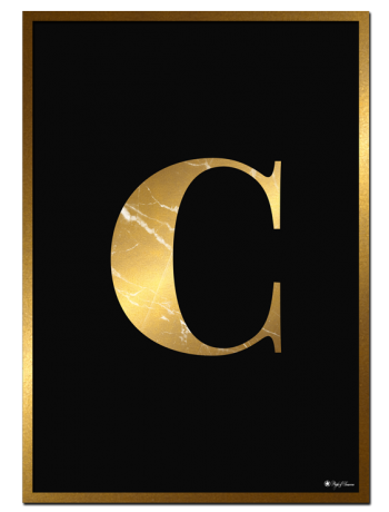 C - Golden Marble Letter poster | Minimalistic typography poster with golden marble texture.