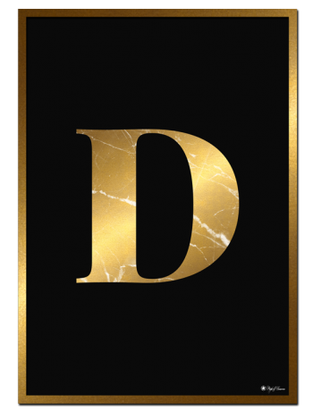 D - Golden Marble Letter poster | Minimalistic typography poster with golden marble texture.