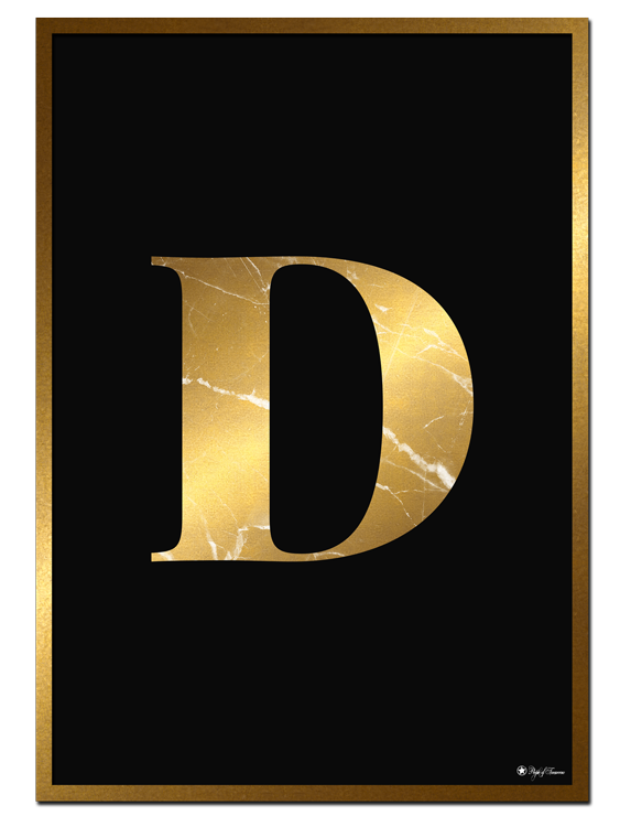 D - Golden Marble Letter poster |Minimalistic typography poster with golden marble texture.