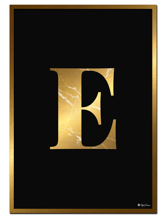 E - Golden Marble Letter poster | Minimalistic typography poster with golden marble texture.