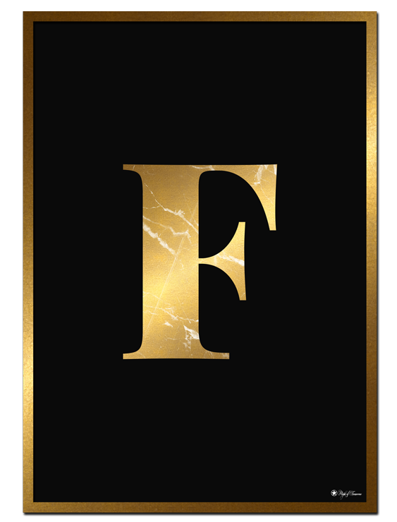 F - Golden Marble Letter poster | Minimalistic typography poster with golden marble texture.