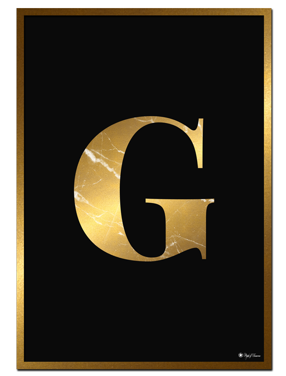 G - Golden Marble Letter poster | Minimalistic typography poster with golden marble texture.