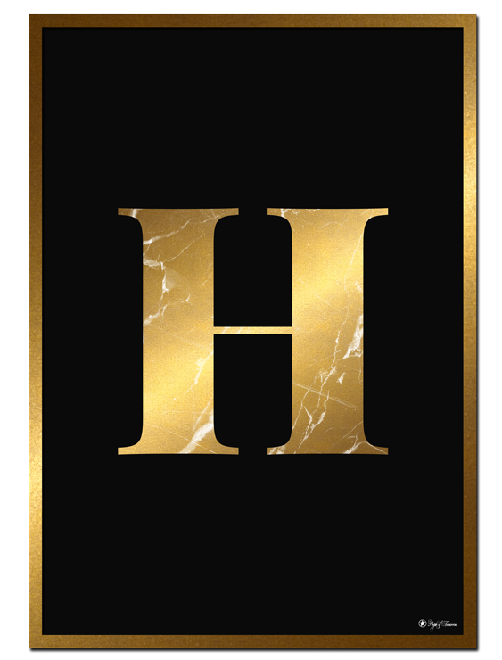 H - Golden Marble Letter poster   Minimalistic typography poster with golden marble texture.