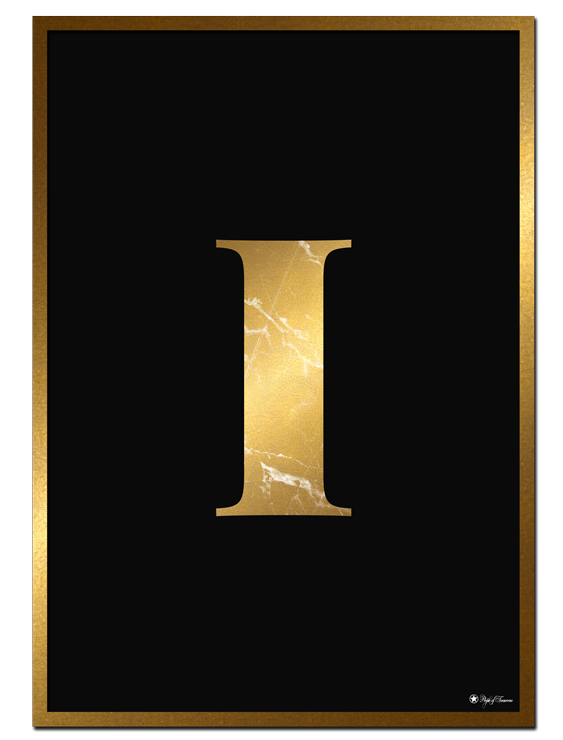 I - Golden Marble Letter poster | Minimalistic typography poster with golden marble texture.