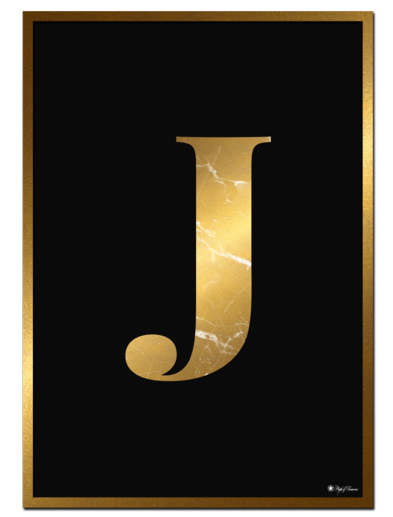 J - Golden Marble Letter poster | Minimalistic typography poster with golden marble texture.