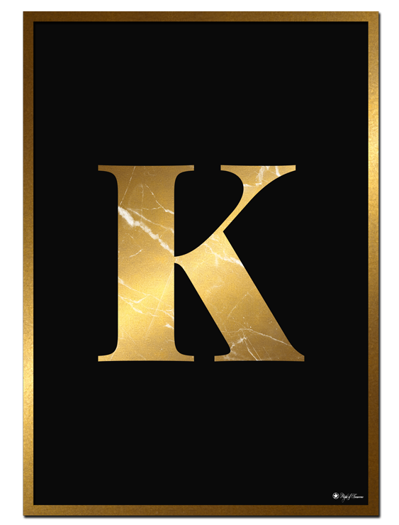 K - Golden Marble Letter poster | Minimalistic typography poster with golden marble texture.