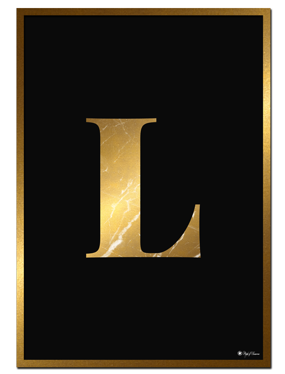 L - Golden Marble Letter poster | Minimalistic typography poster with golden marble texture.