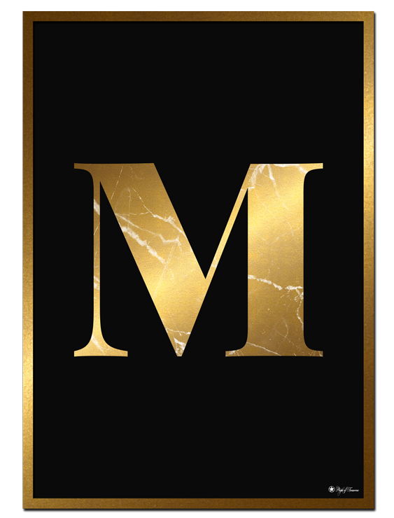 M - Golden Marble Letter poster | Minimalistic typography poster with golden marble texture.