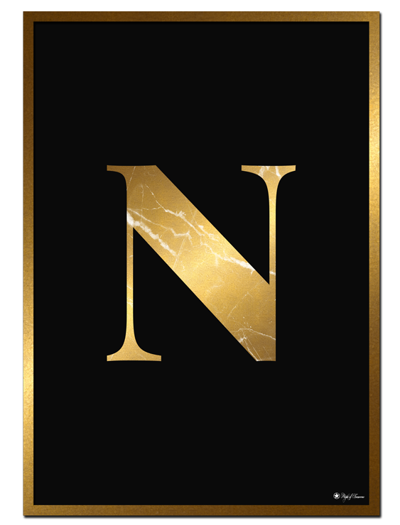 N - Golden Marble Letter poster | Minimalistic typography poster with golden marble texture.