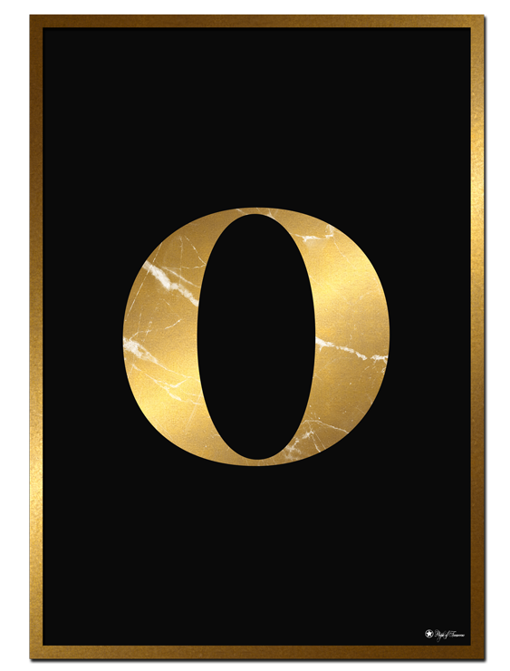 O - Golden Marble Letter poster | Minimalistic typography poster with golden marble texture.