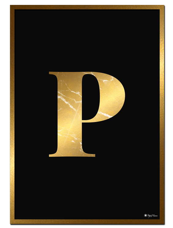 P - Golden Marble Letter poster | Minimalistic typography poster with golden marble texture.