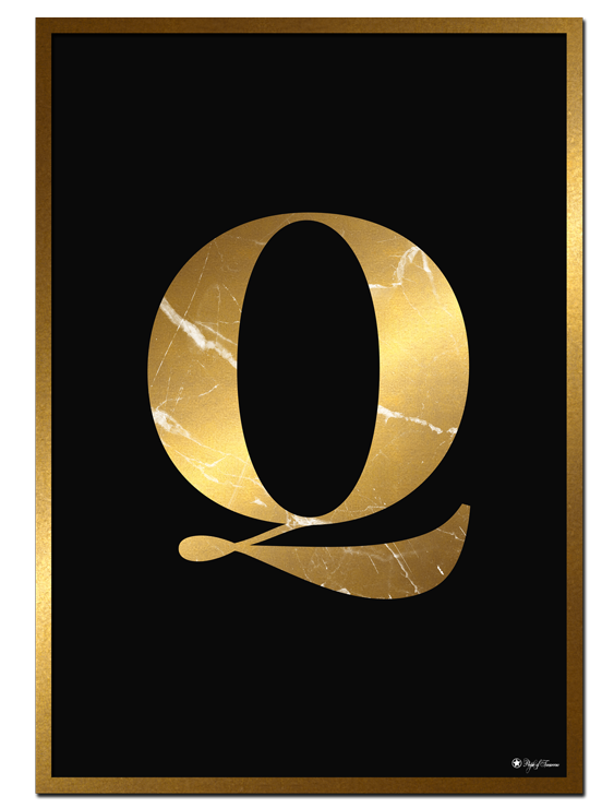 Q - Golden Marble Letter poster | Minimalistic typography poster with golden marble texture.