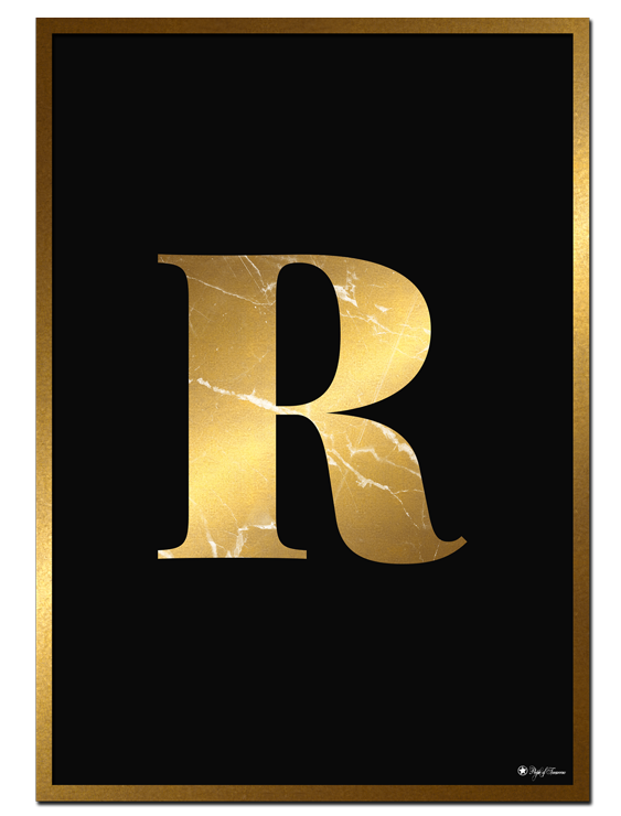 R - Golden Marble Letter poster | Minimalistic typography poster with golden marble texture.