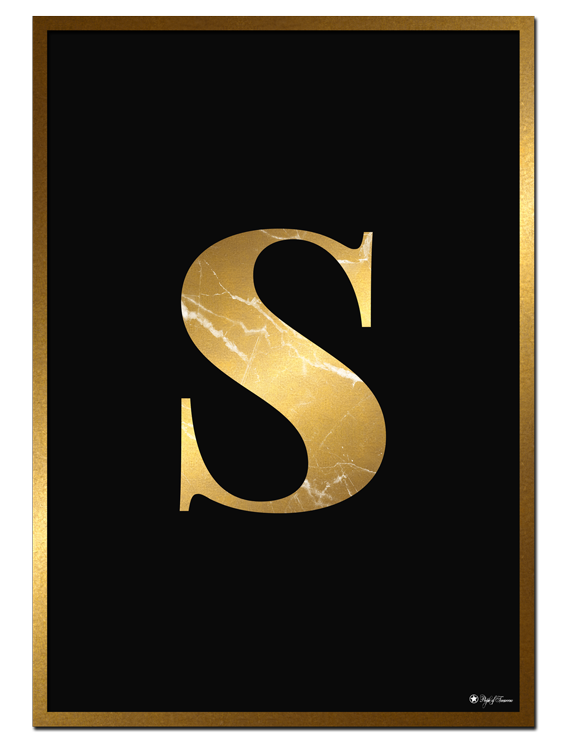 S - Golden Marble Letter poster | Minimalistic typography poster with golden marble texture.