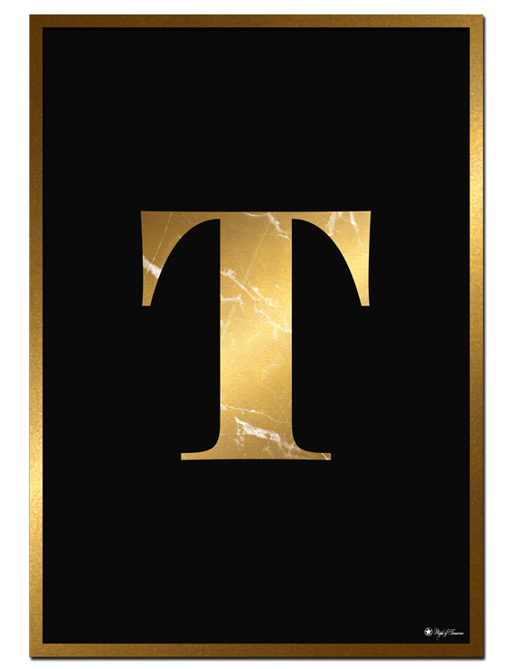 T - Golden Marble Letter poster   Minimalistic typography poster with golden marble texture.