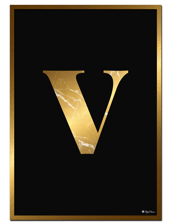 V - Golden Marble Letter poster | Minimalistic typography poster with golden marble texture.