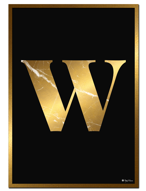 W - Golden Marble Letter poster | Minimalistic typography poster with golden marble texture.