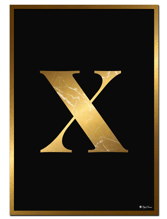X - Golden Marble Letter poster | Minimalistic typography poster with golden marble texture.