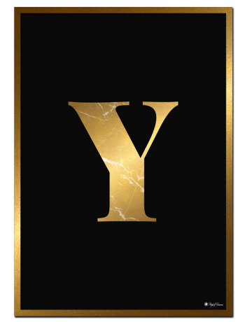 Y - Golden Marble Letter poster | Minimalistic typography poster with golden marble texture.
