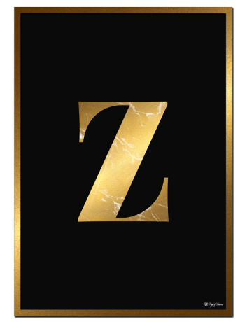 Z - Golden Marble Letter poster | Minimalistic typography poster with golden marble texture.