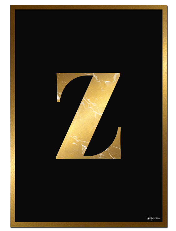 Z - Golden Marble Letter poster   Minimalistic typography poster with golden marble texture.