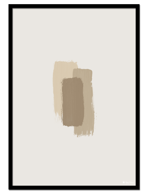 Beige Brush Strokes poster | Minimalistic print of beige colored brush strokes on a light beige background.