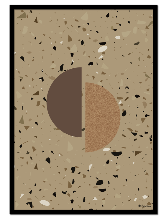 Beige Terrazzo poster | Graphic shapes with texture on beige terrazzo background.
