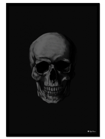 Black Skull poster | Golden Skull poster | Poster of a black human skull on matte black background.