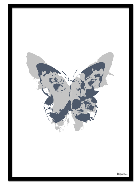 Blue Noir Butterfly poster | Graphic, abstract print of a blue and grey butterfly.