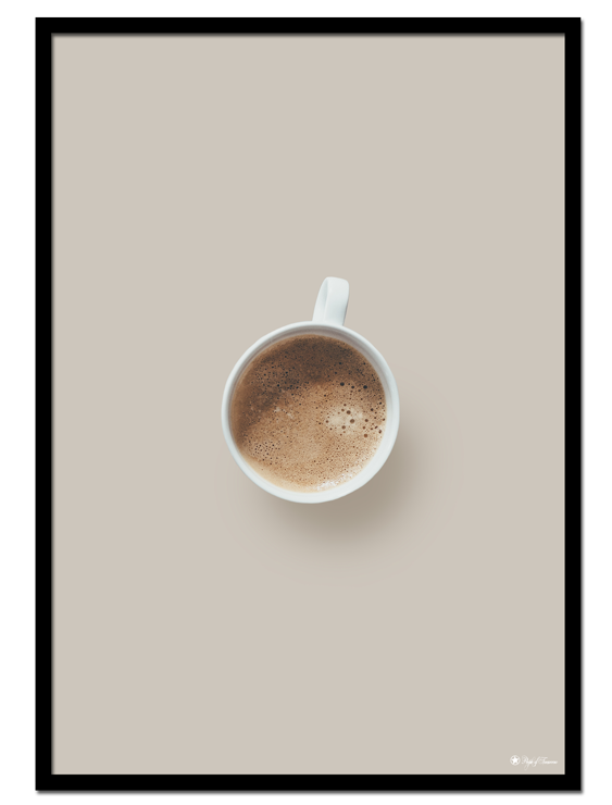 Coffee poster | Minimalistic print of a coffee cup on a light beige background.