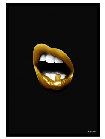 Golden Mouth 01 poster | Digital painting of a golden mouth on matte black background.