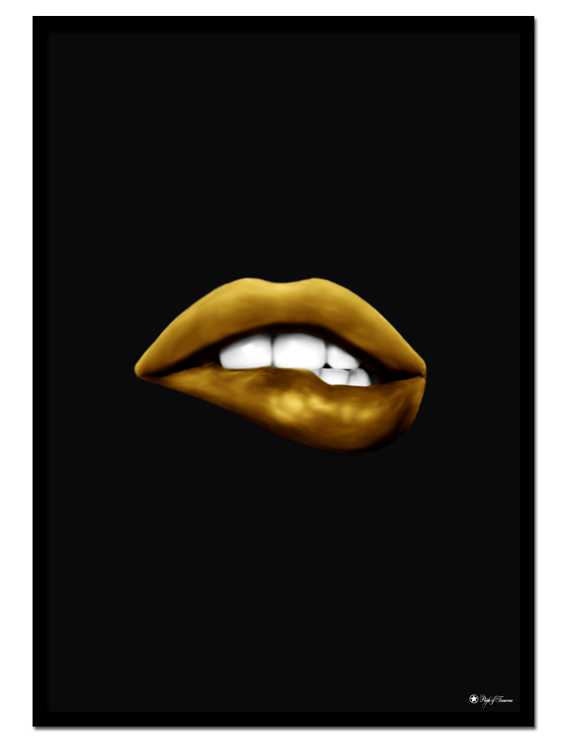 Golden Mouth 02 poster | Digital painting of a golden mouth on matte black background.