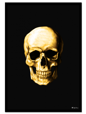 Golden Skull poster | Poster of a golden human skull on matte black background.
