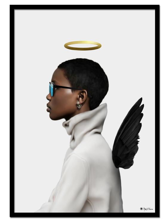 Pretty Please poster | Digital painting of a woman with angel wings and halo.