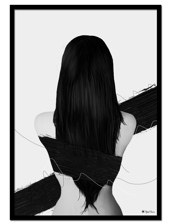 Trapped poster | Digital painting of a woman with black hair, seen from behind.