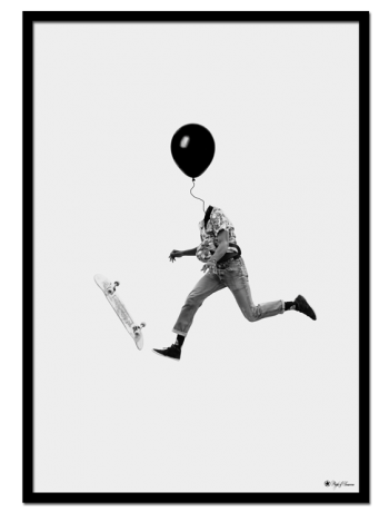 What Have I Done poster | Digital drawing of a man, with a balloon-head, jumping on a skateboard.
