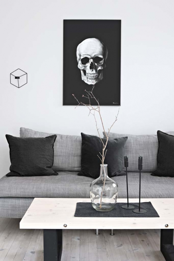 White Skull poster | Poster of a white human skull on matte black background.