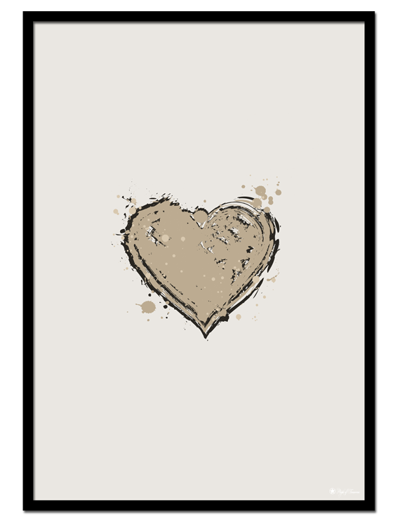 Beige Love poster | Abstract painting of a dark beige heart on light beige background.