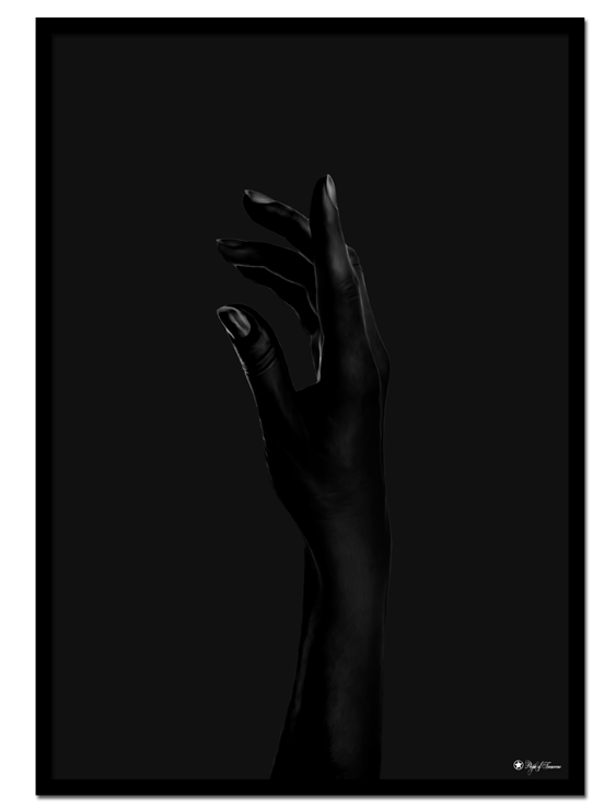Black Hand poster | Minimalistic photo art of a black hand on black background.