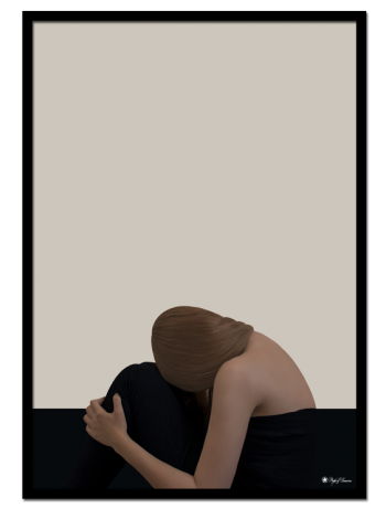 Hide & Seek poster | Minimalistic print of a woman hiding her head in her lap.