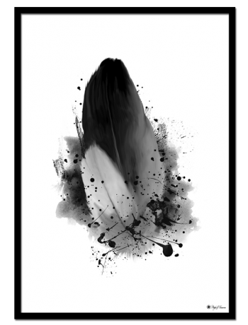 Messy Feather poster | Artistic art print of a black and white feather.