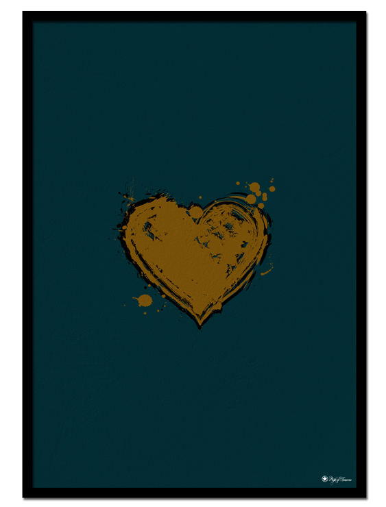 Messy Love poster | Abstract painting of a heart with a beautiful combination of cognac and seagreen colors.