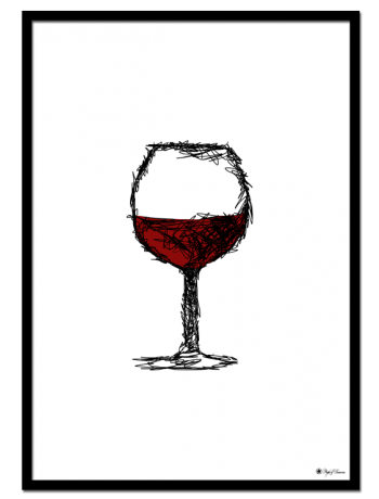 Red Wine poster | Minimalistic drawing of a glass of red wine.
