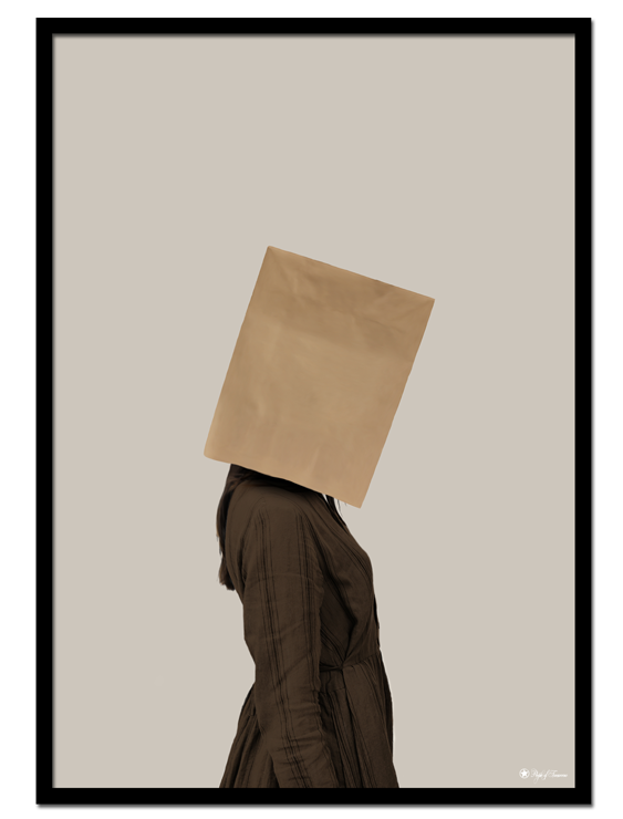Shamed poster |Digital drawing of a woman with a brown paper bag on her head.
