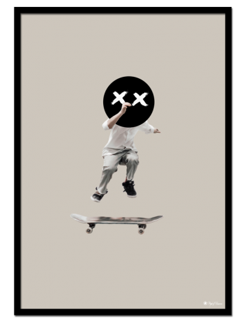 The Kid poster | Digital tegning av et barn som hopper på et skateboard.