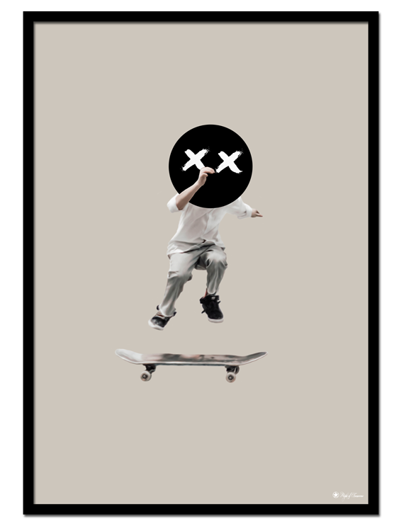 The Kid poster | Digital painting of a kid jumping on a skateboard.