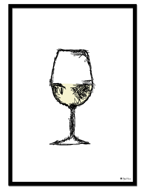 White Wine poster | Minimalistic drawing of a glass of white wine.