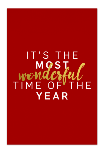 Wonderful Time – Red Christmas Card