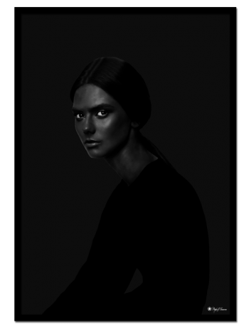 Yin poster | Artistic photo art of a woman in black.