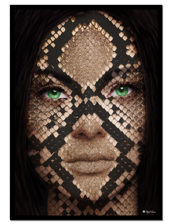 Snake Face poster | Eye-catching poster of a woman with snakeskin texture and clear green eyes.